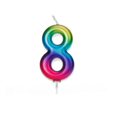 Bougie d'anniversaire en cire en forme de chiffre, couleur arc en ciel irisé Chiffre N° 7 Taille 8 cm