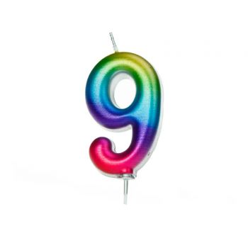 Bougie chiffre N°9 rainbow irisé