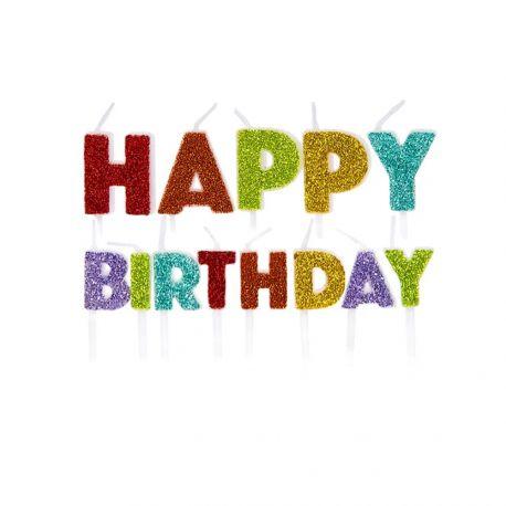 13 bougies pics Happy Birthday arc en ciel pailletéLongueur: 7cm x 5.5