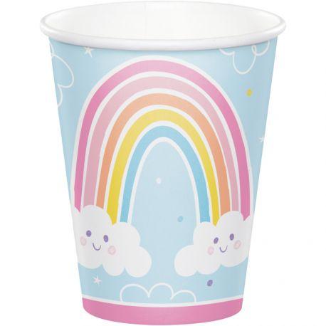 8 gobelets en carton Happy rainbow idéal pour une belle décoration de table d'anniversaireDimensions: 25cl