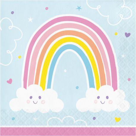 16 Serviettes en papier Happy rainbow idéal pour une belle décoration de table d'anniversaireDimensions: 16.5 x 16.5cm / 33 x 33cm