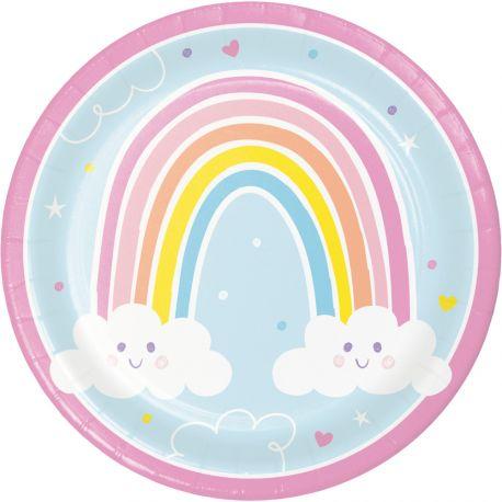8 Assiettes en carton Happy rainbow idéal pour une belle décoration de table d'anniversaireDimensions: Ø 23 cm