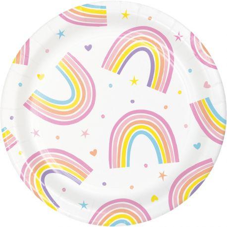 8 petites assiettes en carton Happy rainbow idéal pour une belle décoration de table d'anniversaireDimensions: Ø18cm