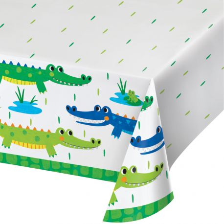 Nappe en papier Alligator party pour décorer une belle table d'anniversaireDimensions: 137 x 259cm
