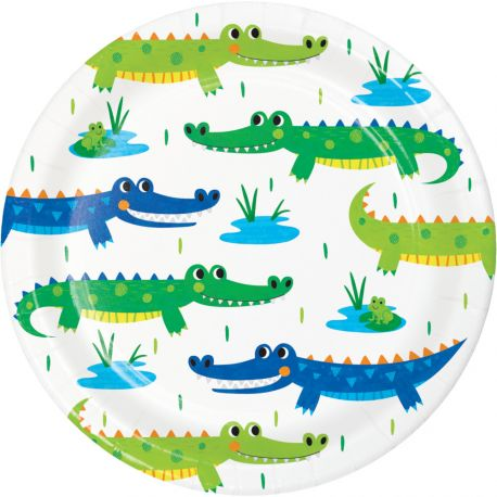 8 petites assiettes Alligator party pour décorer une belle table d'anniversaireDimensions: Ø18cm