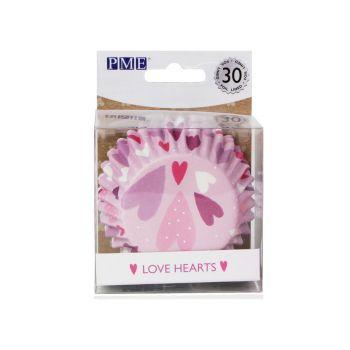30 Caissettes cupcakes aluminium Love