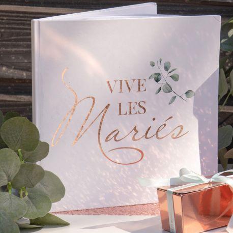 Livre d'or décor feuillage avec impression Vive les mariés métallisé gold rose pour un mariage bucoliqueDimensions: 24 x 24cm