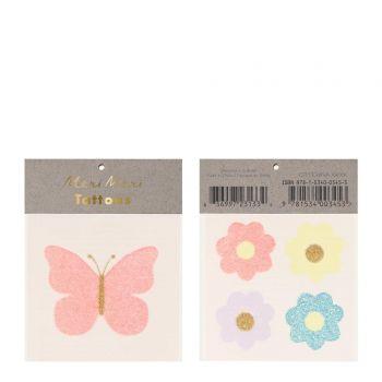 Tatouage papillons et fleurs pailleté