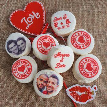 48 Guimize ronds personnalisés texte décor tampon Love