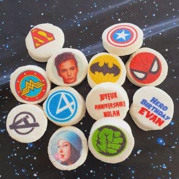48 Guimize rond personnalisé texte décor Super héros