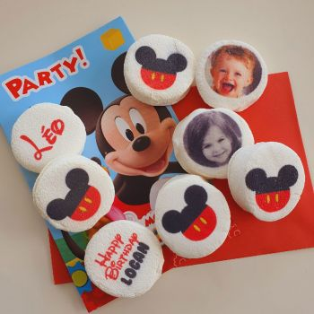 48 Guimize ronds personnalisés texte décor Mickey