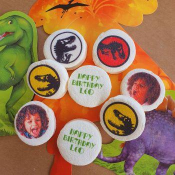 48 Guimize ronds personnalisés texte décor Dinosaure