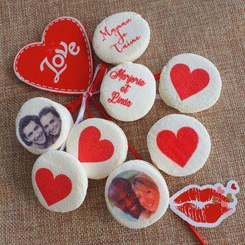 48 Guimize ronds personnalisés texte décor Coeur rouge