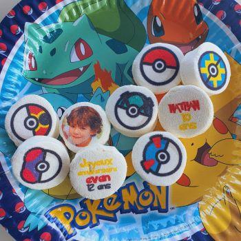48 Guimize ronds personnalisés texte décor Pokemon