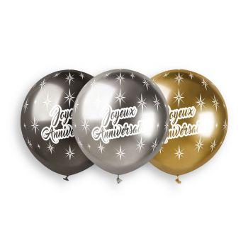 3 Ballons shiny métallisés Joyeux Anniversaire Ø48cm