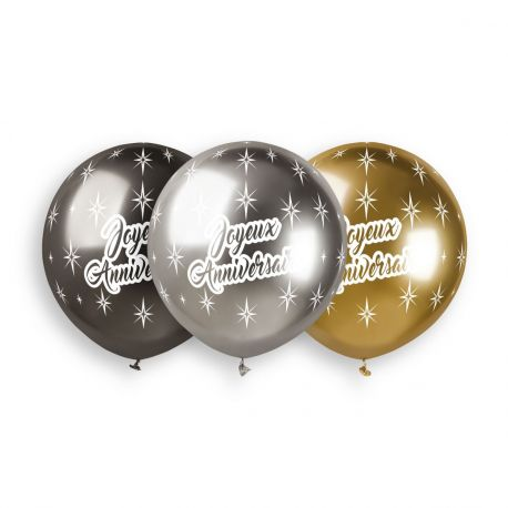 3 Ballons en latex de couleur métallisés shiny anthracite, or et argent avec impression Joyeux Anniversaire en blanc idéal pour vos...