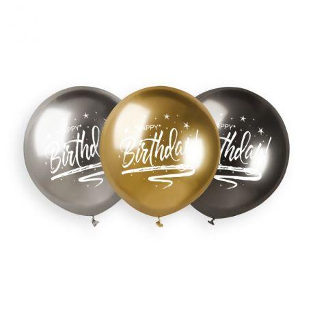3 Ballons en latex de couleur métallisés shiny anthracite, or et argent avec impression Happy Birthday en blanc idéal pour vos...