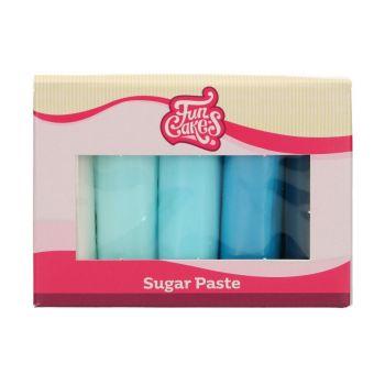 Pack 5 pâte à sucre tons bleu Funcakes