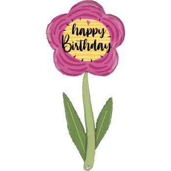 Ballon hélium marguerite Happy Birthday géant