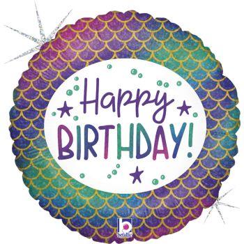 Ballon hélium Happy Birthday sirène