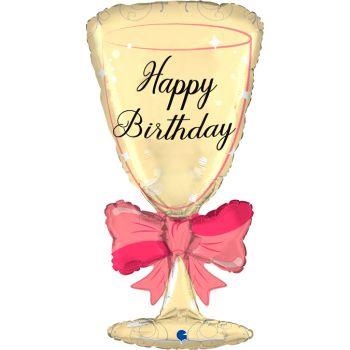 Ballon hélium verre avec noeud Happy birthday