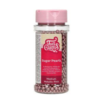 Perles en sucre rose métallisé 80g
