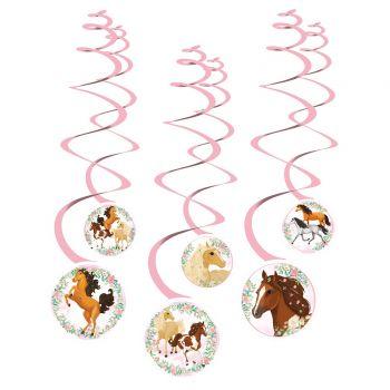 6 Guirlandes tourbillons cheval fleuri