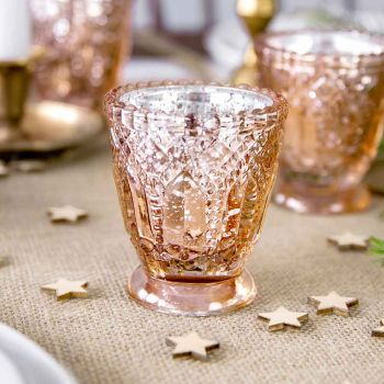 4 Bougeoirs gold rose vintage