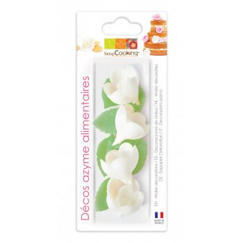 4 Roses blanches + feuilles azymes Scrapcooking