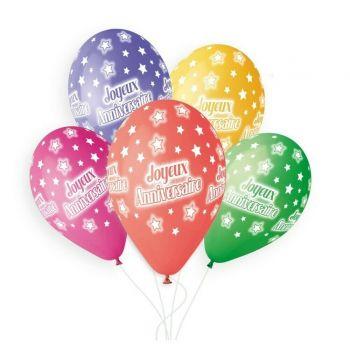 5 Ballons Bio Joyeux anniversaire color Ø33cm