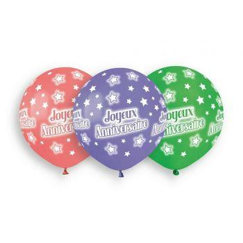 3 Ballons Bio Joyeux anniversaire color Ø48cm