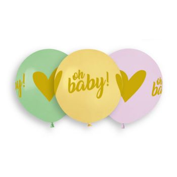 3 Ballons pastel Oh Baby Ø48cm