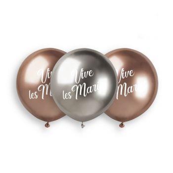 3 Ballons Vive les mariés Shiny Ø48cm