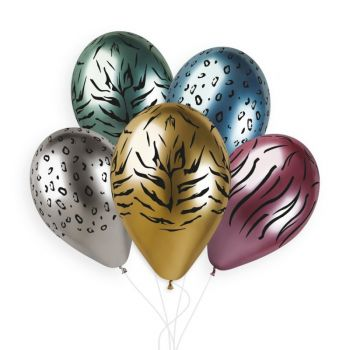 5 Ballons Jungle Shiny color Ø33cm