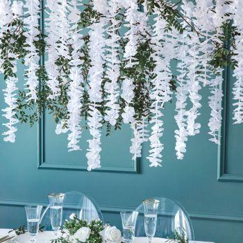 Guirlande fleurs blanche en tissu