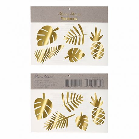 Ces magnifiques tatouages temporaires tropicaux or sont parfaits pour apporter une touche de coquetterie pour une fête ou soirée !...