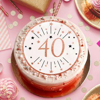 Disque sucre gold rose 40 ans