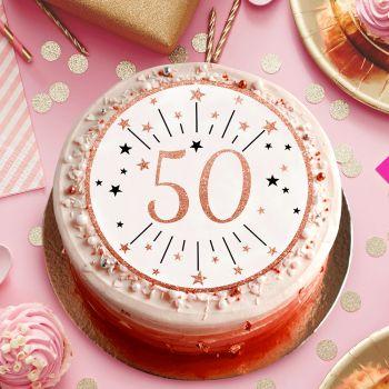 Disque sucre gold rose 50 ans