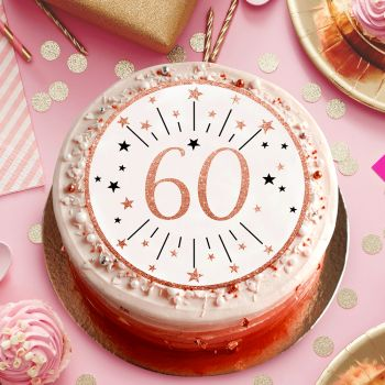 Disque sucre gold rose 60 ans