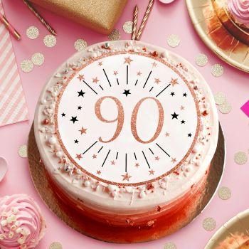 Disque sucre gold rose 90 ans