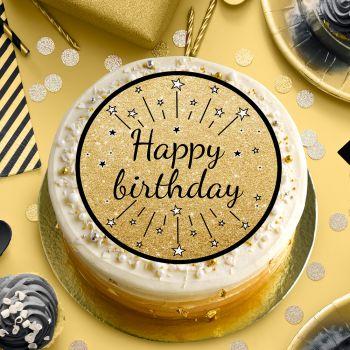 Disque sucre Happy birthday noir