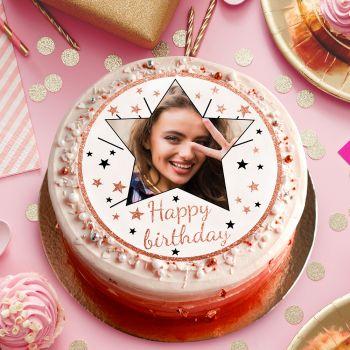 Disque sucre pour gâteau personnalisé Happy Birthday gold rose