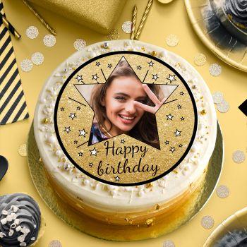 Disque sucre pour gâteau personnalisé Happy Birthday noir