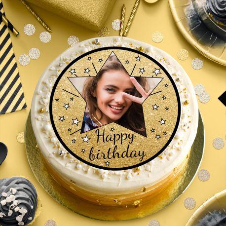 Disque sucre personnalisé Happy Birthday noir pour décorer vos gâteaux d'anniversaires.Diamètre 19 cm  Peut être conservé 6...
