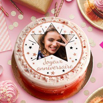 Disque sucre pour gâteau personnalisé Joyeux Anniversaire gold rose