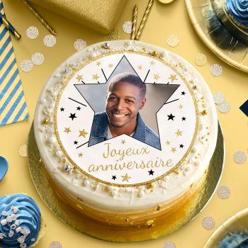 Disque sucre pour gâteau personnalisé Joyeux Anniversaire or