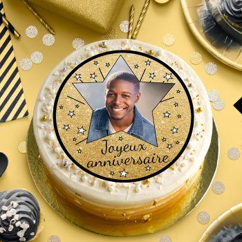 Disque sucre pour gâteau personnalisé Joyeux Anniversaire noir