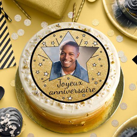 Disque sucre personnalisé Joyeux Anniversaire noir pour décorer vos gâteaux d'anniversaires. Diamètre 19 cm  Peut être conservé 6...
