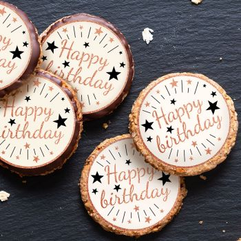 12 Mini disques en sucre Happy Birthday gold rose