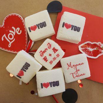 48 Guimize carrés personnalisés texte décor I Love You